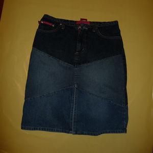 2-Toned Denim Skirt